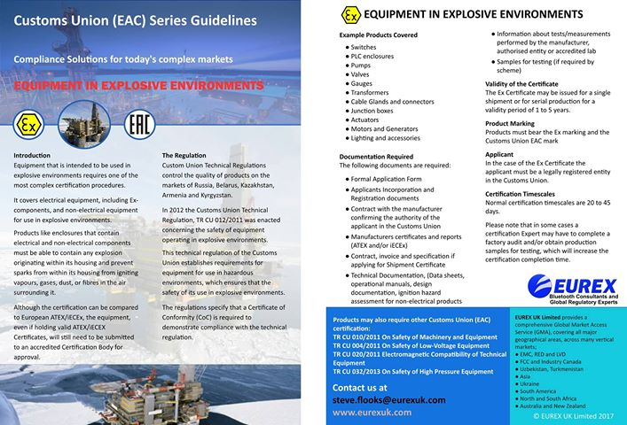 Our guide for Customs Union certification for Ex products